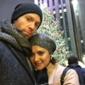 Mariana and Brian in front of the Rockefeller Center during the holidays, December 2016