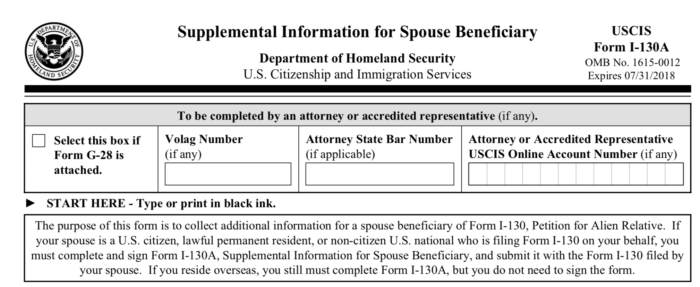 US Immigration Form I 130A For Spouses Seeking A Green Card