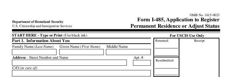 US Immigration Form I 485