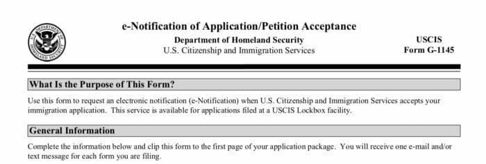 G-1145 USCIS Immigration Form