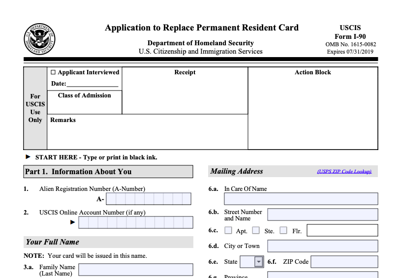 Sample Form I-90